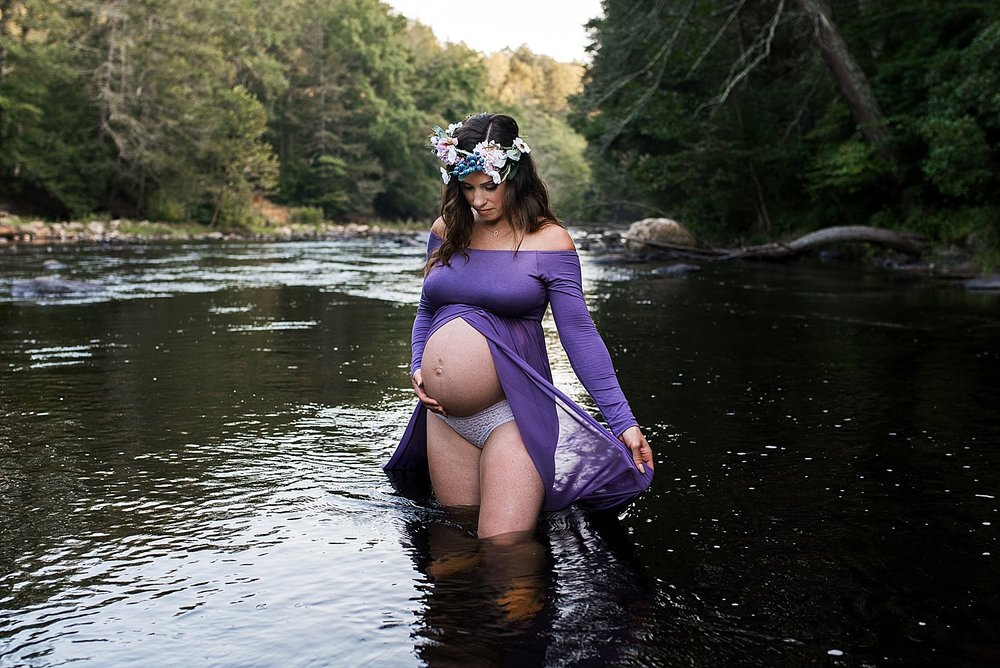 Bare belly mom in purple dressing and flower crown. Maternity photography Connecticut