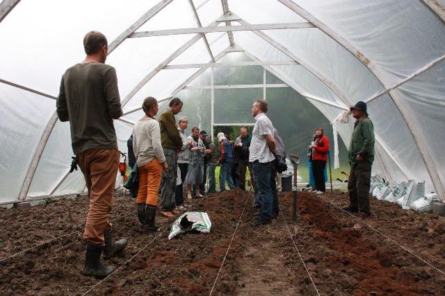 Virolaisia viljelijöitä Mustosen kasvihuoneessa vierailulla