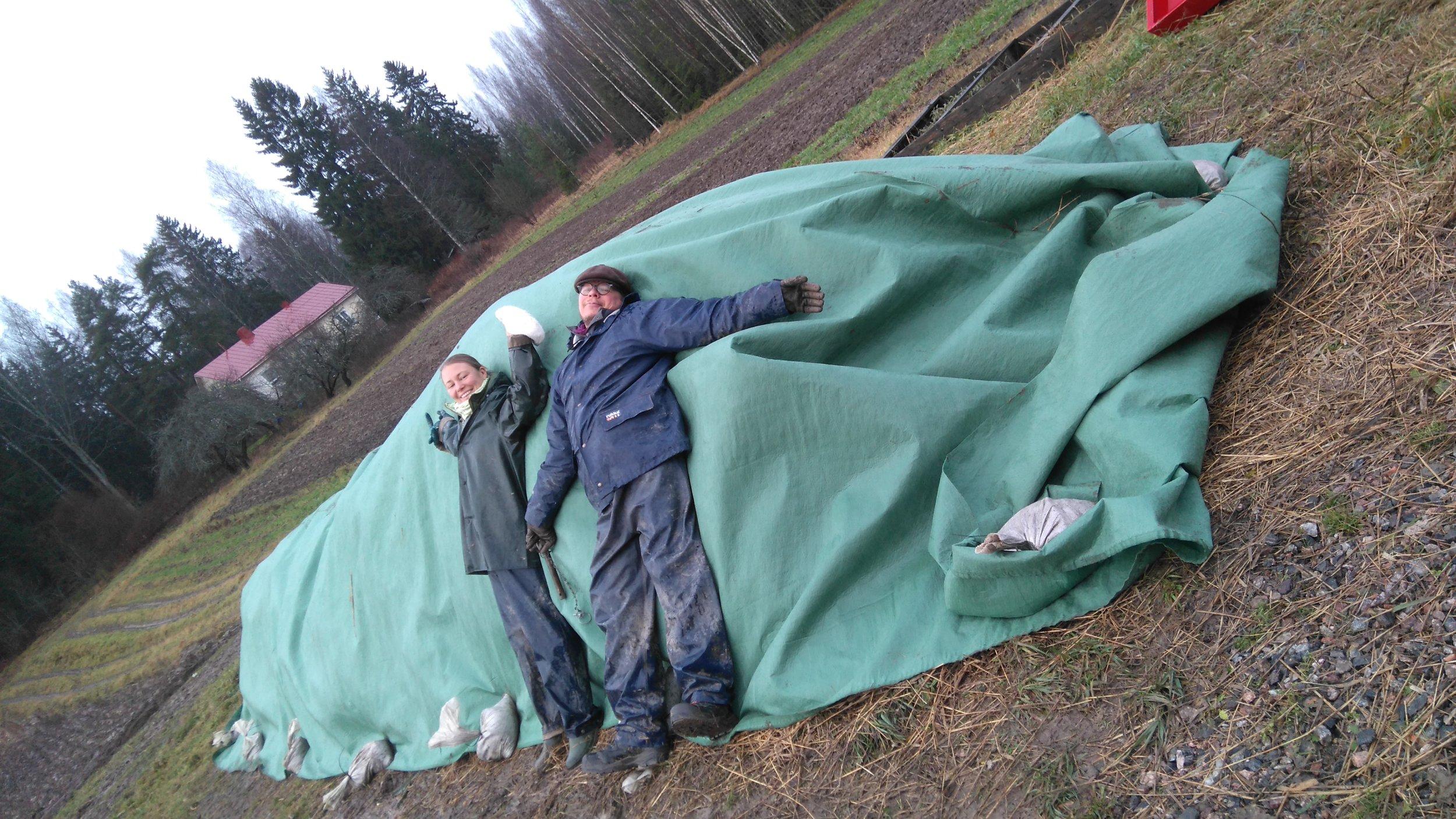 Heidi & Pentti & talveksi peitetty komposti