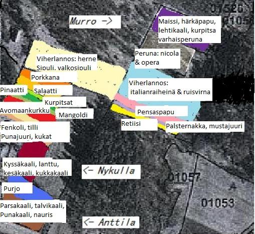 Herttoniemen ruokaosuuskunnan lohkot (Murro, Nykulla & Anttila) sekä 2015 viljeltävien kasvilajien paikat