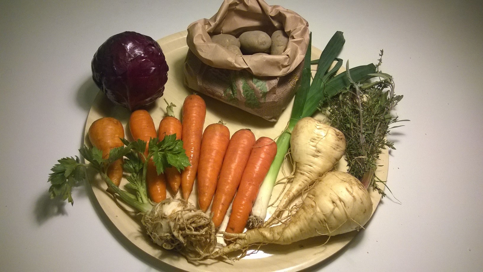 punakaali 580g, porkkana 663g, selleri 125g, peruna 1011g, palsternakka 519g, purjo 67g, yrttinippu (rosmariini ja salvia) 21g