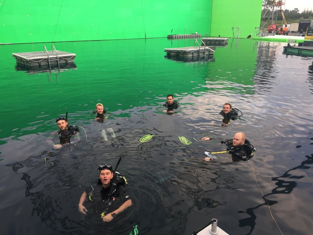 Safety divers at the Kumeu Film Studios