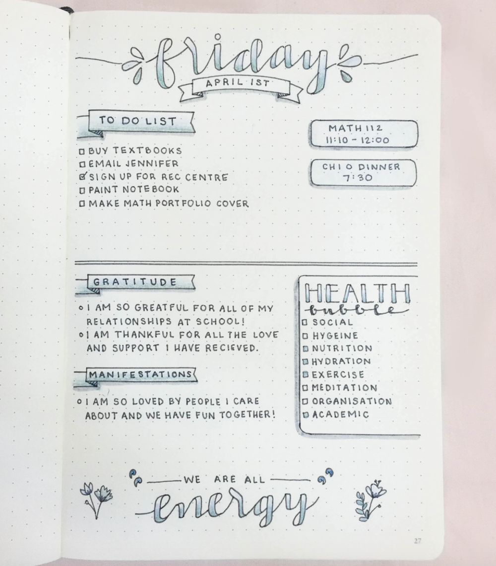 A lovely Daily Log Spread by @studyinspiration