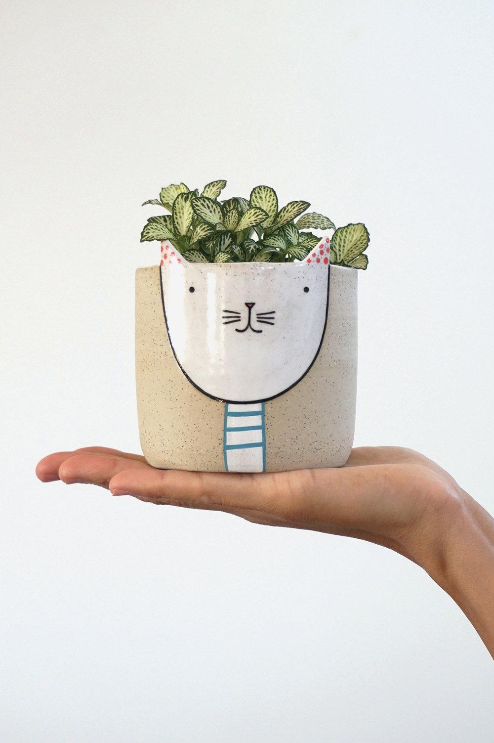 Standing Kitty Planter $80