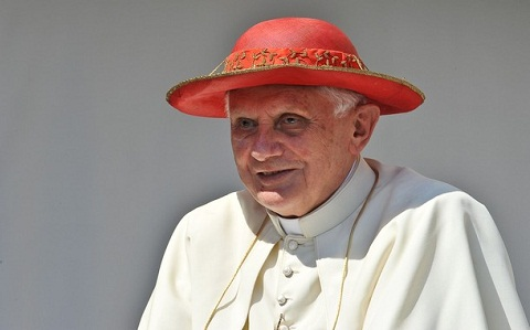 Pope Benedict XVI looks towards crowds g