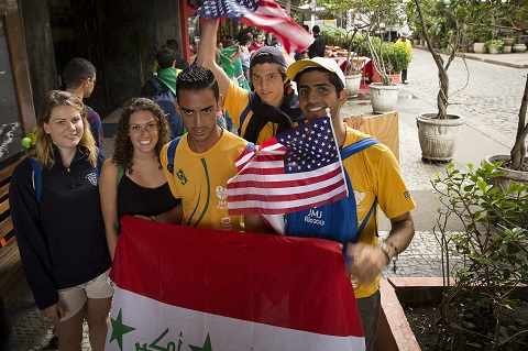 World Youth Day pilgrims from U.S., United Kingdom pose for photo in Rio de Janeiro