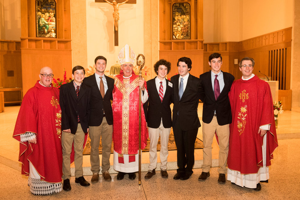 The Tierney Brothers with their brother, newly Confirmed Owen PATRICK Tierney, also pictured is Fr. Healey, OLM Pastor, Bishop Checchio and Fr. Barrow, OLM Associate Pastor.