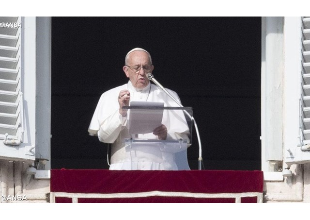 Pope Francis delivers his weekly Angelus Address at St. Peter's in Rome.