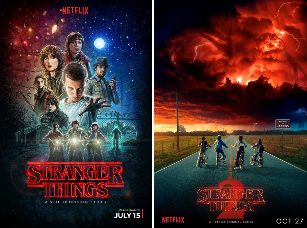 Stranger Things  posters, Season 1 (left) and Season 2 (right)