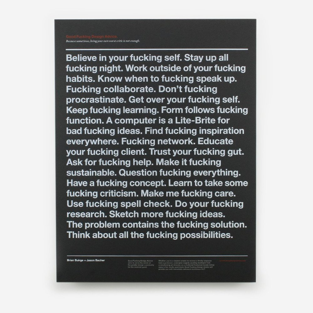 Good Fucking Design Advice  poster