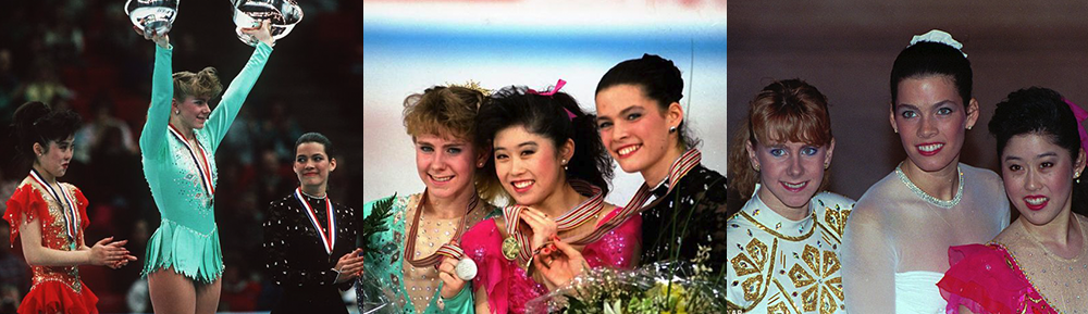 From left to right, Kristi Yamaguchi, Tonya Harding, and Nancy Kerrigan in the 1991 U.S. Figure Skating Championships, 1991 World Figure Skating Championships, and 1992 U.S. Figure Skating Championships