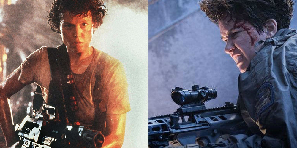 At left is Ellen Ripley in  Alien  (1979)   and at right is Daniels in  Alien: Covenant  (2017)