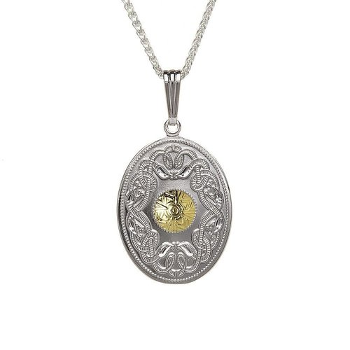 67c69b01a255f Oval Celtic Warrior Pendant with 18K Gold Bead