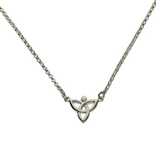 Diamond Trinity Knot Necklet