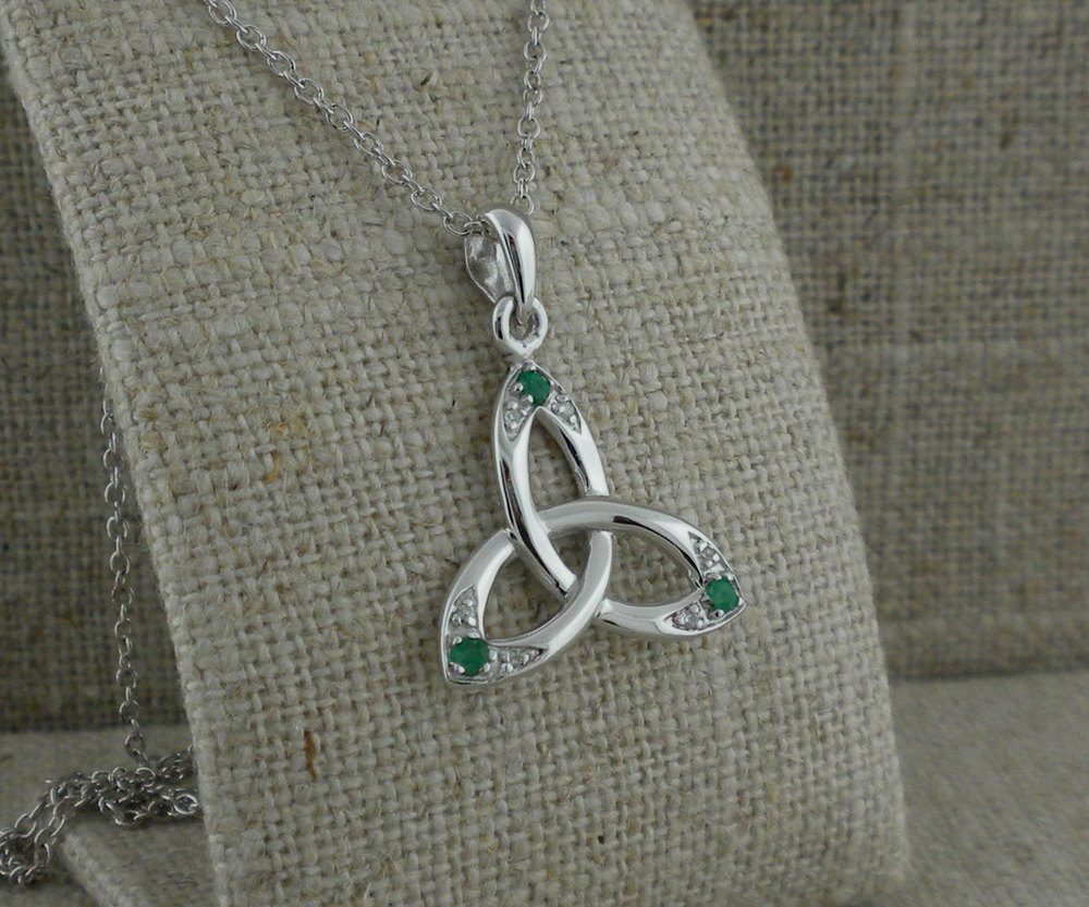 Silver Trinity Knot Pendant with Emeralds & Diamonds