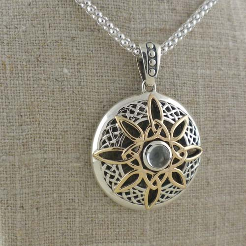 Sterling Silver & 10K Celtic Compass Pendant