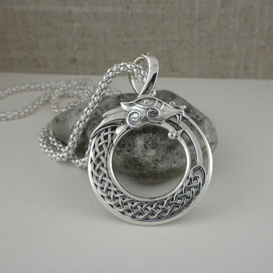 Sterling Silver Celtic Dragon Pendant