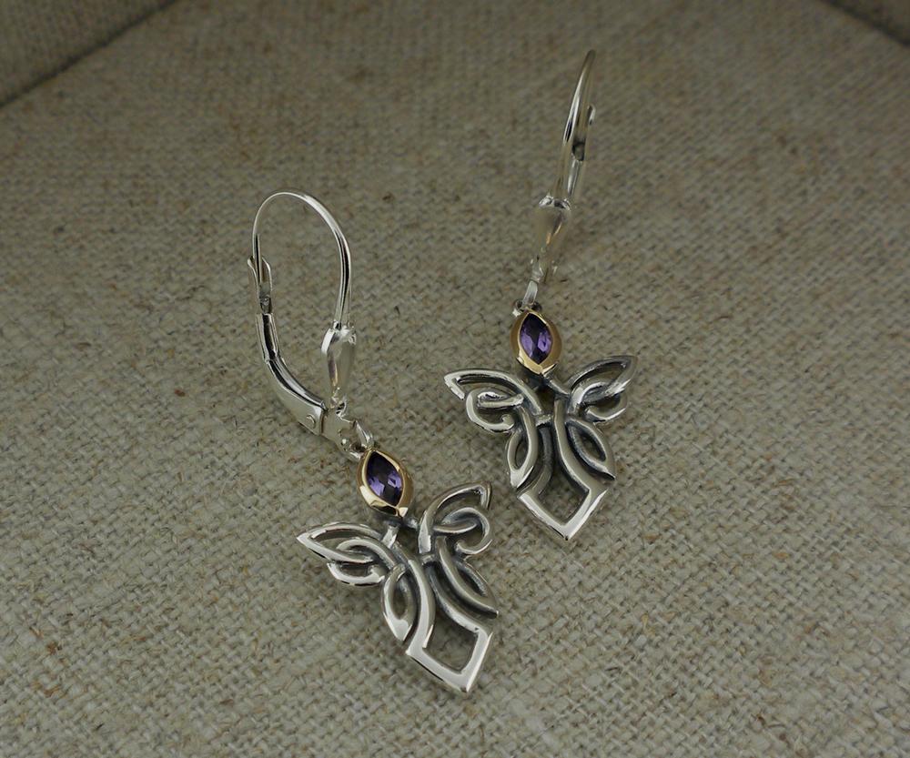 Guardian Angel Earrings with Gem