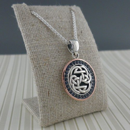 Celtic Knot with Sapphires & 10K Rose Gold