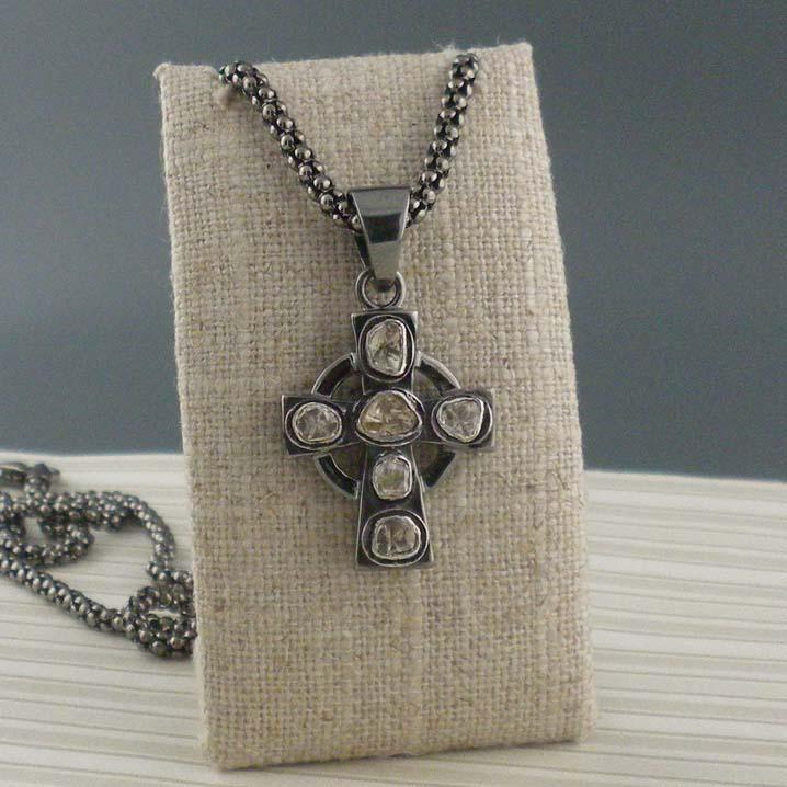 Sterling Silver Raw Cross Pendant
