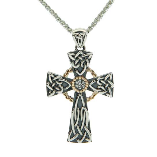 Oxidized Celtic Cross with White Sapphires