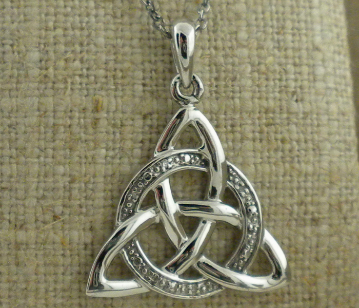 Silver Trinity Knot Pendant with Diamonds