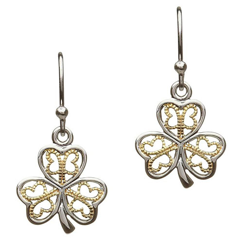 Copy of Silver Shamrock Earrings with Gold Filigree