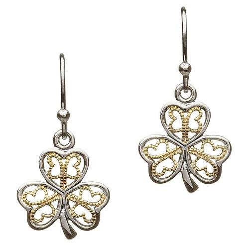 Silver Shamrock Earrings with Gold Filigree