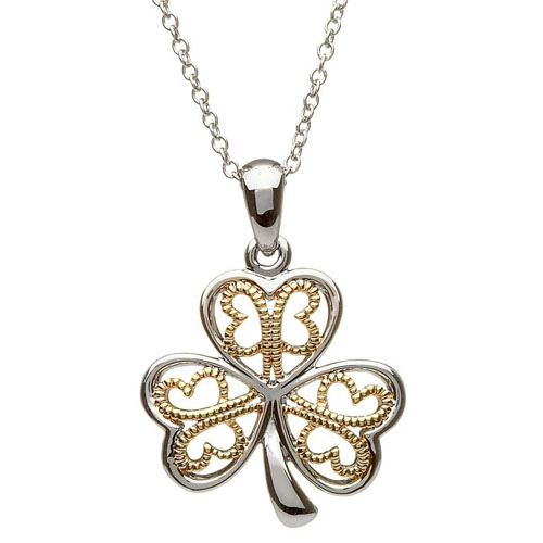 Silver Shamrock Pendant with Gold Plate Filigree