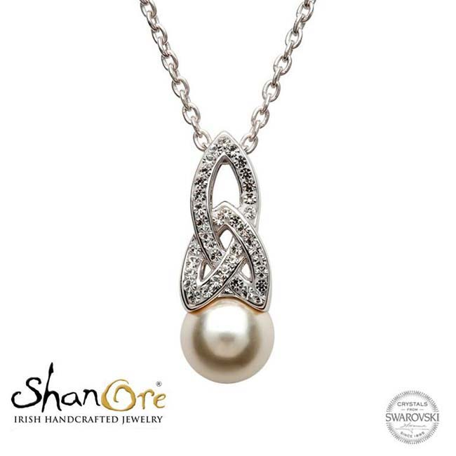 Trinity Knot Pendant Crystals & Pearl