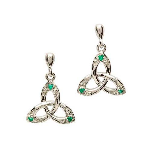Silver Trinity Knot Earrings with Emeralds