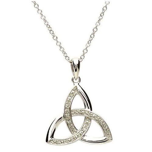 Diamond Set Silver Trinity Knot Pendant