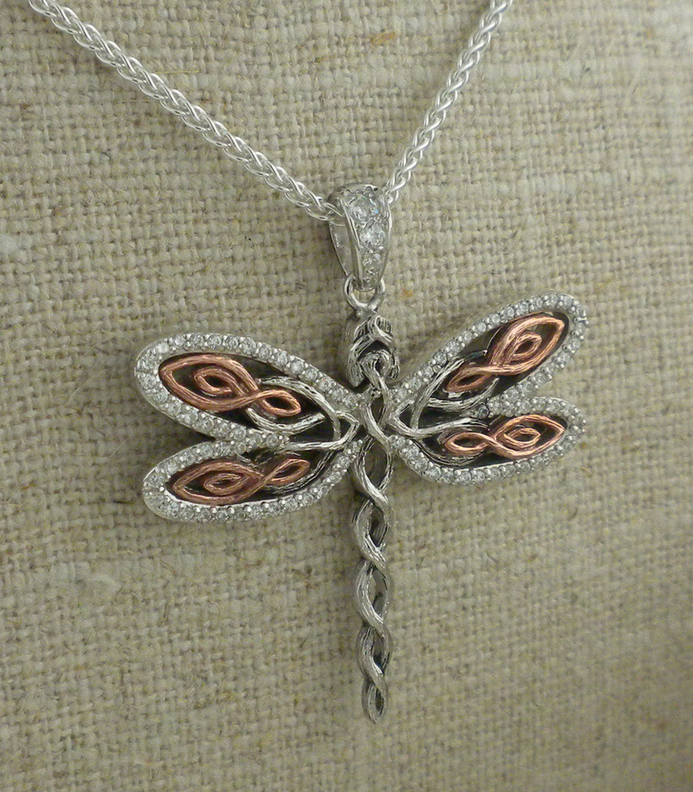 Celtic Dragonfly with Rose Gold Pendant