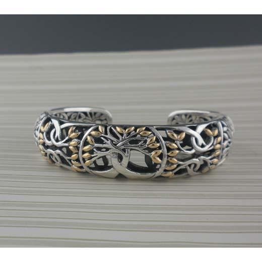 Sterling Silver & 18K Tree of Life Bracelet by Keith Jack