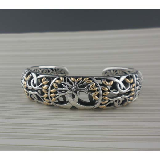 Sterling Silver & 18K Tree of Life Bracelet