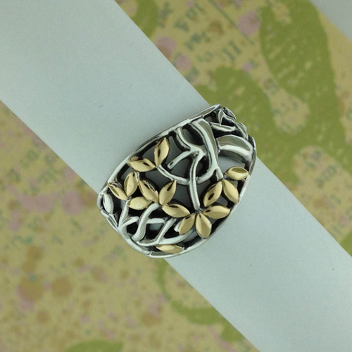 Celtic Tree of Life Ring Silver with 18K Accents