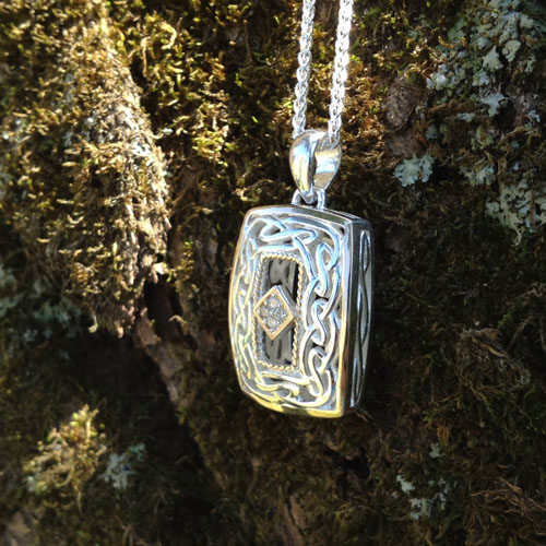 Rectangular Diamond Celtic Window to the Soul Pendant