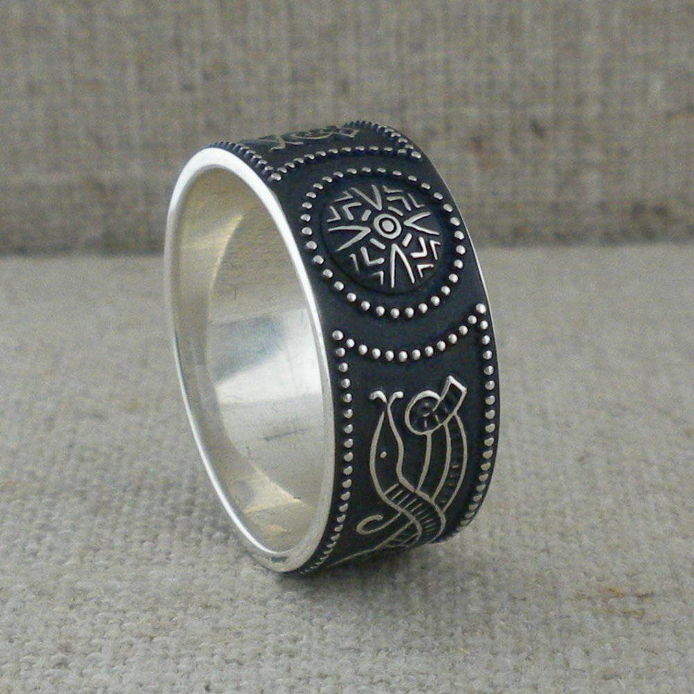 9 mm Wide Sterling Silver Warrior Shield Wedding ring