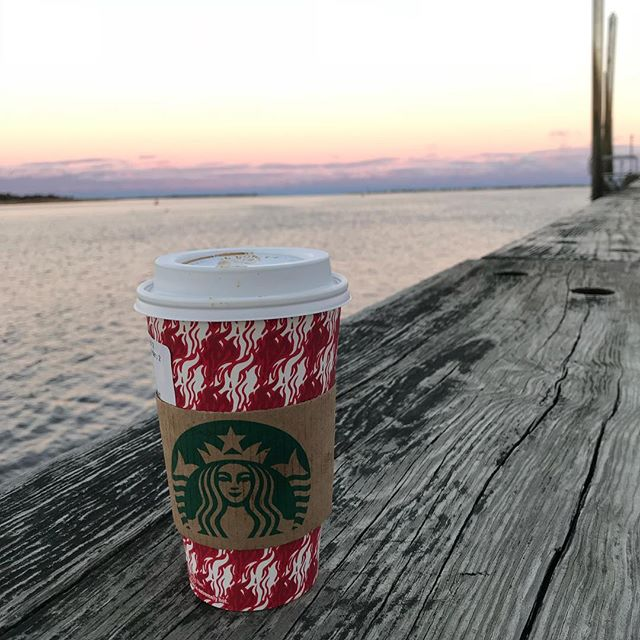 @starbucks Christmas cups and #newburyport sunsets.  It's beginning to look a lot like Christmas the day before Halloween!  #itsbeginningtolookalotlikechristmas #newburyport #starbucks