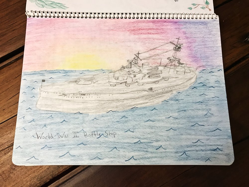 This drawing of a World War II battleship was in the main lesson book of an 8th grade student.   8th Grade