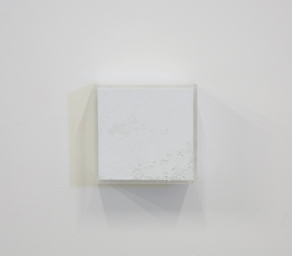 "White Box painting  ,                 Raw Pigments in Plexiglas box         10x2 1⁄2""x10"" 2018"
