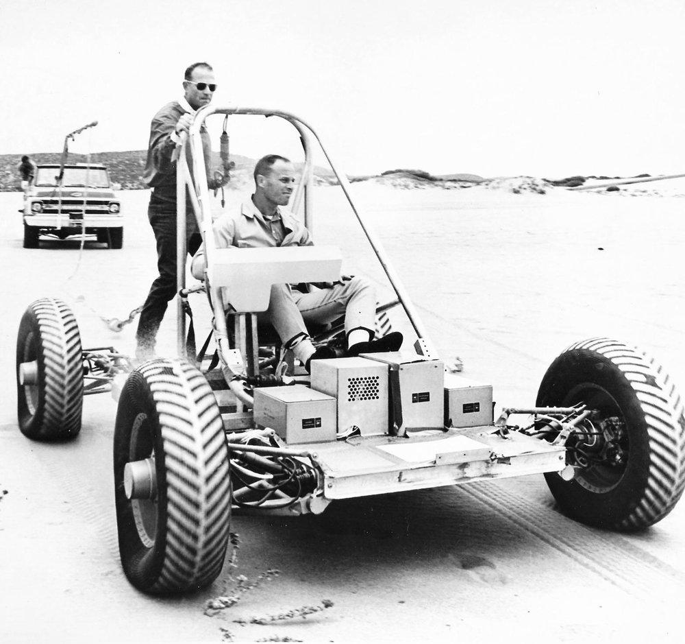 Astronauts Lousma and Carr in the Lunar Rover Mobility Test Vehicle