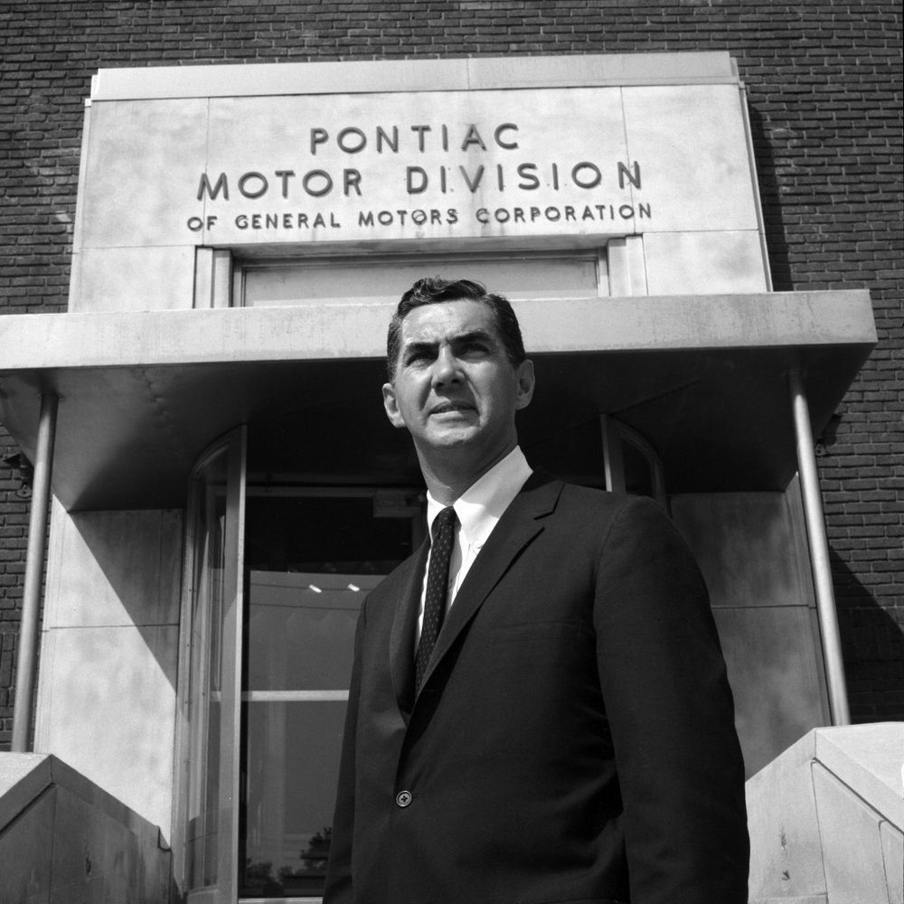 John DeLorean in front of his Pontiac Motor Division