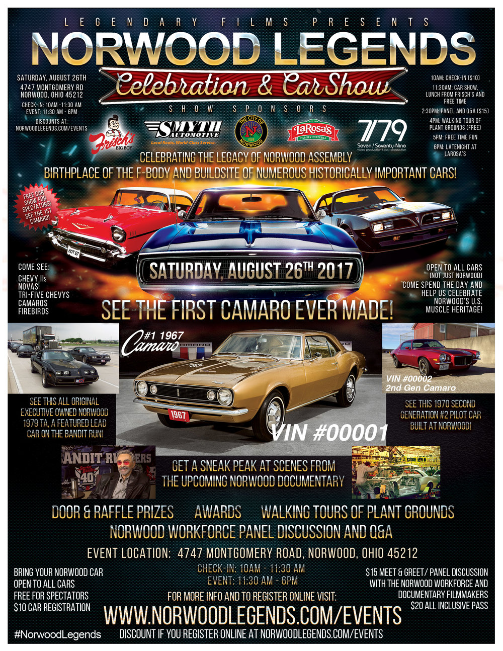 Come see the first Camaro ever produced on August 26th, 2017 in Norwood, Ohio where it was originally hand built in 1966.