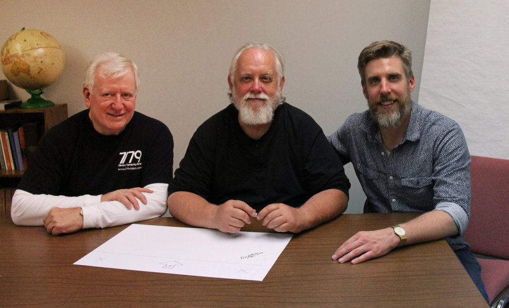 (Left to Right) Alex Money - Norwood Legends Producer, Don Johnson - Last man on the Norwood assembly line, and Drew Money - Norwood Legends Director and Producer.  Don signs the signature panel.