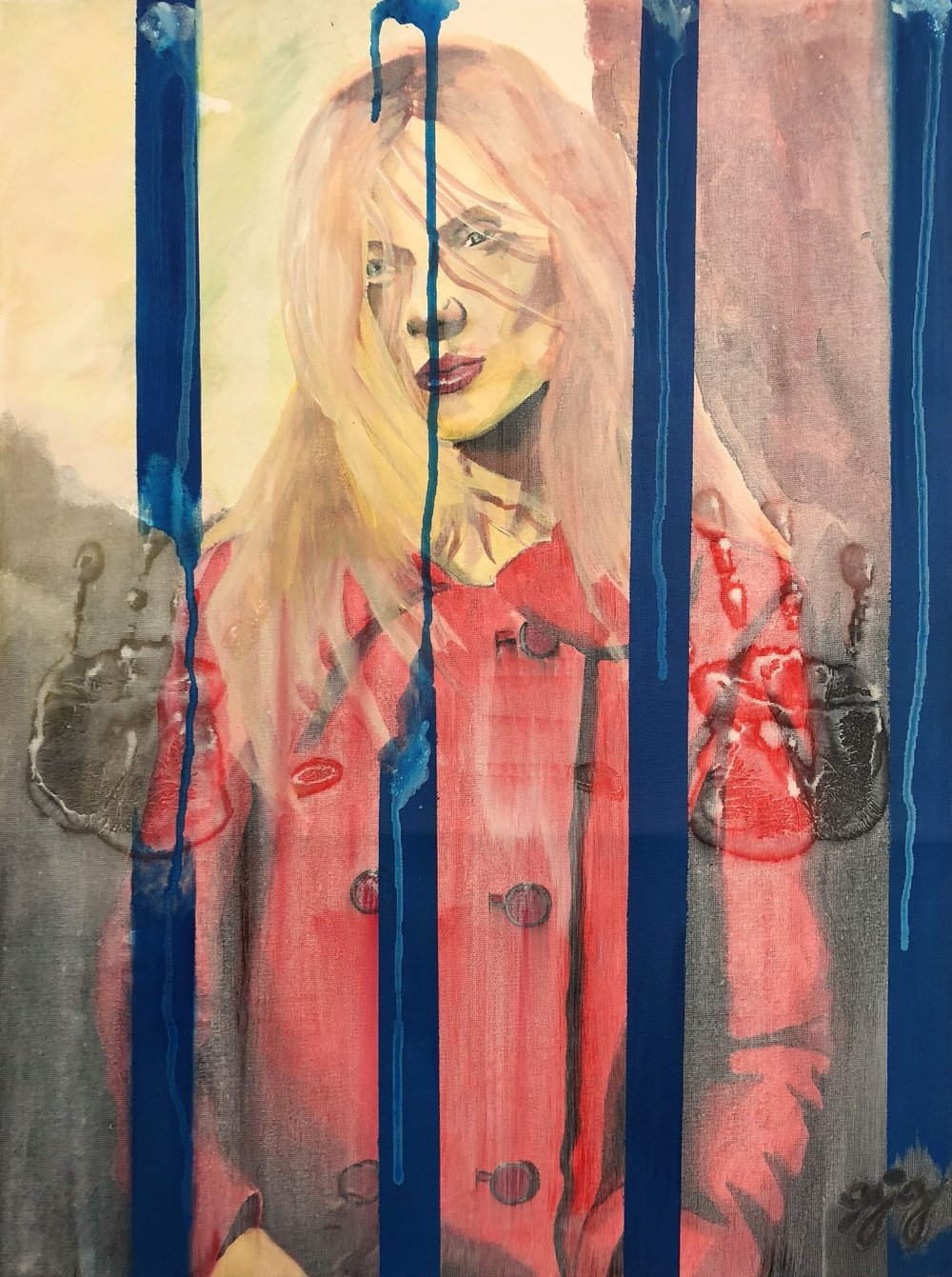 Who is Really in Prison?   This painting depicts a woman standing alone with a window and prison bars. She wears a trendy red coat that misrepresents her means, suggesting she can afford the cost of the pictures, calls, videos, and visits required to communicate with an incarcerated loved one. But she can't, and the emotional price is heavy. The pain, loneliness, and helplessness on her face as she looks at the remnants of her loved ones prints on the wet and dirty window in the visiting room is a testament of the burden carried. Posing the question: Who is really in Prison?    Not for Sale