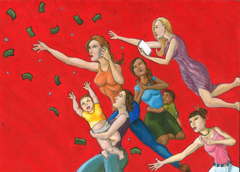 Right panel:  Women throw their money into the wind to support their incarcerated loved ones. Seven women of differing nationalities are expressing support in varying forms from prayer to visits. The seven stand in holiness as those that uplift their incarcerated loved ones and resist the profiteers who threaten to break-up their families. The red background underscores the passion and blood in the scene.  In the end, the colors of the American flag are inverted, the mark of a backward system.    Sold
