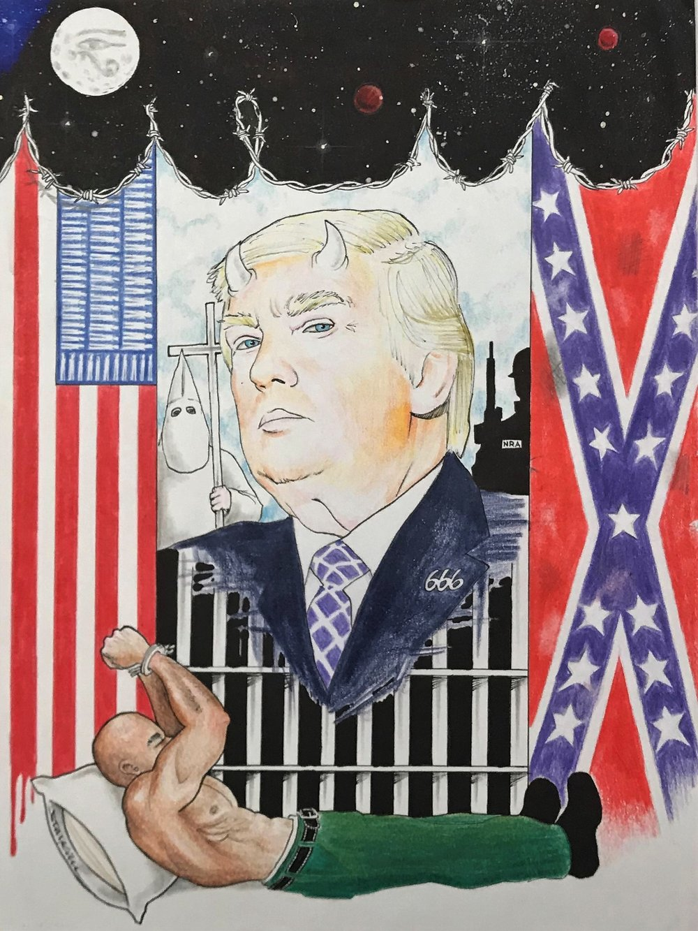 Make America Hate Again   This illustration depicts the President's overarching message: systematic oppression fueled by white supremacy and protected by the NRA. Today, America incarcerates the black and brown people that built it. With enslaved bodies replacing stars and their blood creating stripes, the American flag has gone from symbolizing freedom in its early days to symbolizing imprisonment.