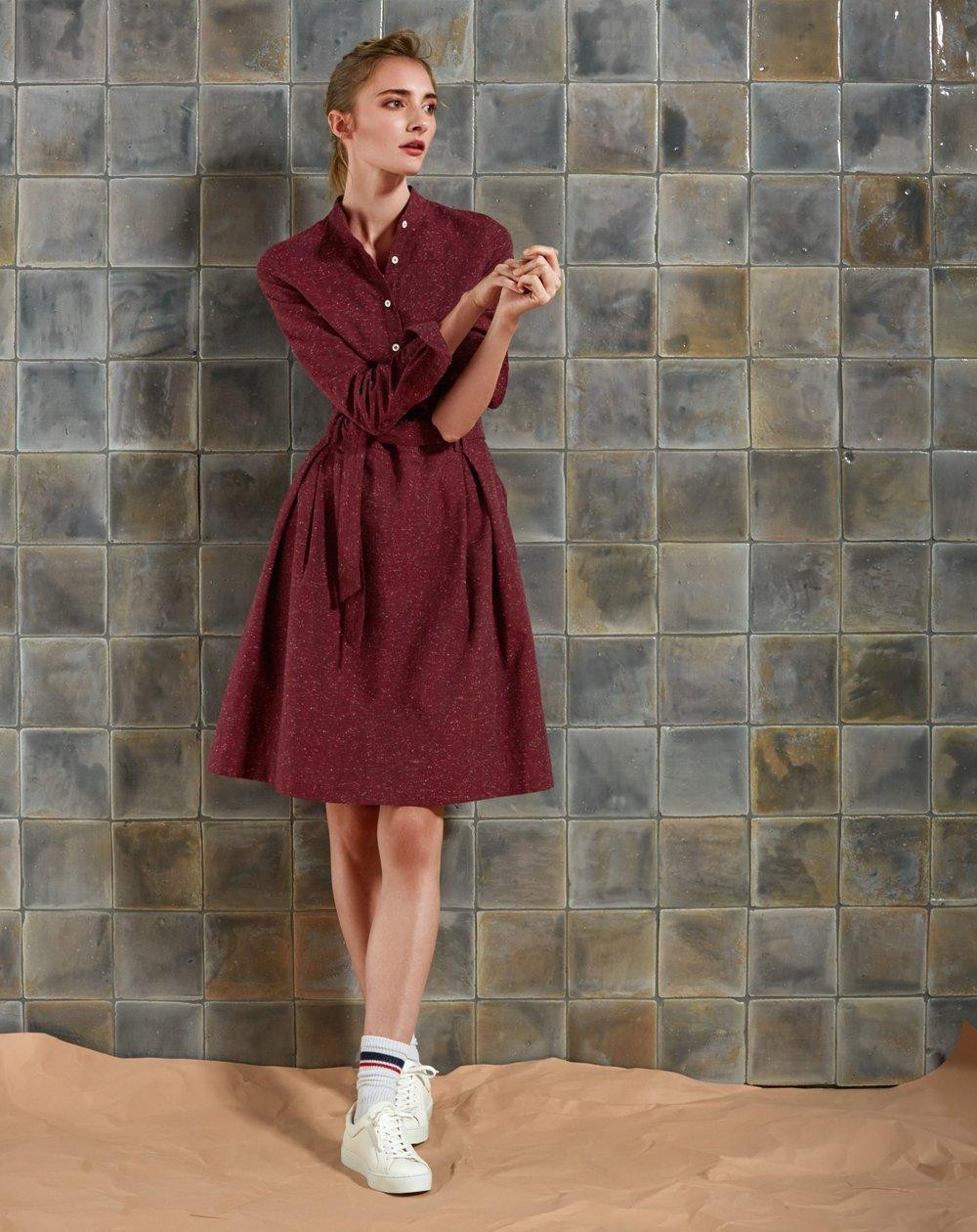 Knielanges Kleid mit weitem Rock aus Baumwollflanell in Tweedoptik