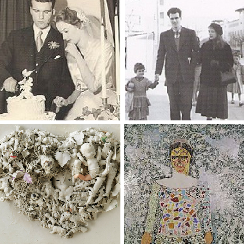 From top left: wedding to Harry Mathews, with Harry and daughter Laura, Self Portrait 1958, Be My Frankenstein 1964